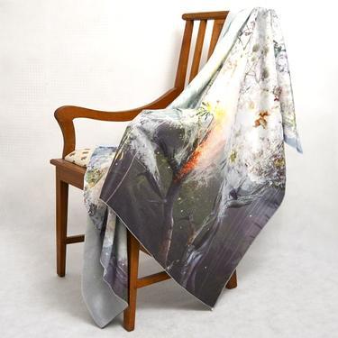 Šátek - přehoz akvarel - Sakurový háj  - 2