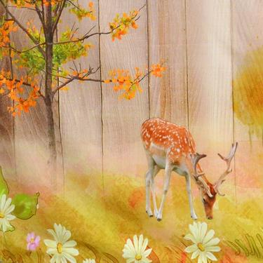 Šátek - přehoz Daňci v jarním lese  - 2