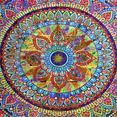 Šátek - přehoz Duhová mandala 200 x 150 cm  - 2