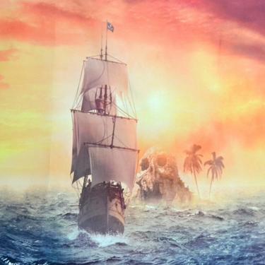 Šátek - přehoz Pirátský koráb  - 2