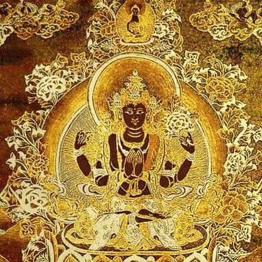 Tkaný gobelín Tibet zlatý - Avalókitéšvara  - 2