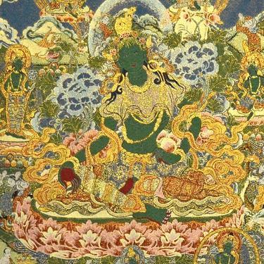 Tkaný gobelín Tibet - Zelená Tara Vysvoboditelka  - 2