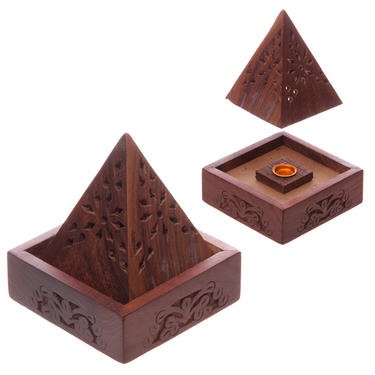 Stojánek na vonné kužely - Dřevěná pyramida  - 2