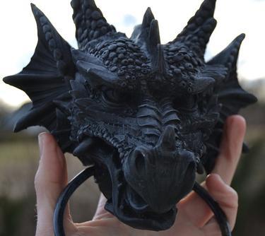 Fantasy klepadlo - Černý drak  - 2