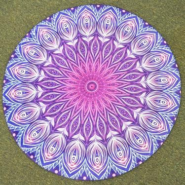 Meditační kobereček Fialová Mandala kulatý, 80 cm  - 2