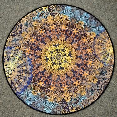 Meditační kobereček Modrá Mandala kulatý, 80 cm  - 2