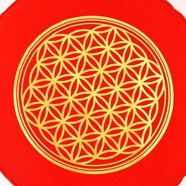 Meditační polštář Květ Života červený  - 2