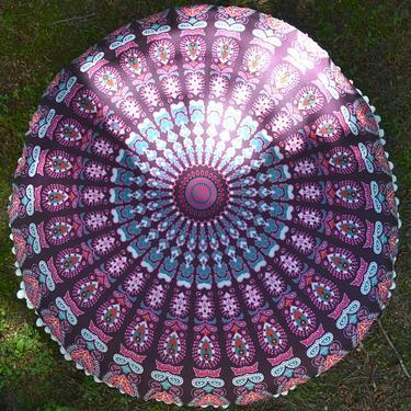 Meditační polštář kulatý Růžová Mandala 80 cm  - 2