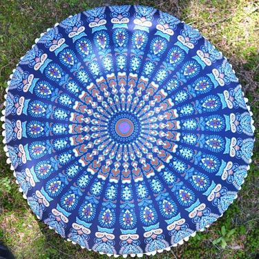 Meditační polštář kulatý Modrá Mandala 80 cm  - 2