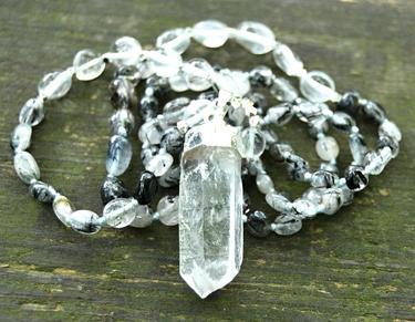 Náhrdelník Křišťál s turmalínem, krystal křišťálu  - 2