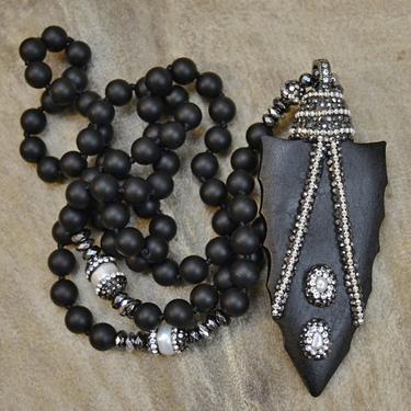 Náhrdelník Night Magic - černé dřevo, černý onyx  - 2
