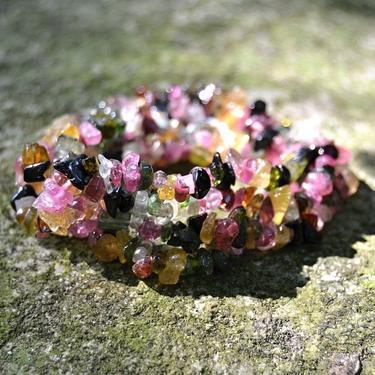 Náhrdelník Turmalín barevný drobné kamínky 45 cm  - 2