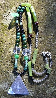 Náhrdelník Zelené Srdce Přírody - nefrit, turmalín  - 2