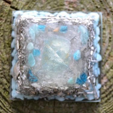 Orgonitová pyramida 5 cm, zelená - fluorit  - 2