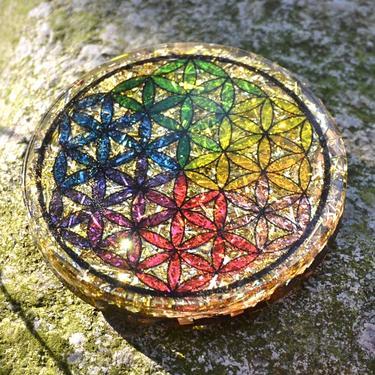 Orgonitová podložka pod sklenici Květ Života 7 cm  - 2