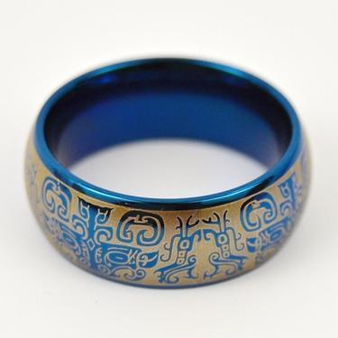 Prsten Peru, titanová ocel, modrý vel. 65 / 66  - 2