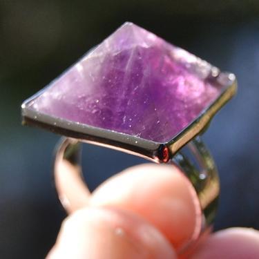 Prsten s ametystovou pyramidou rozevírací  - 2