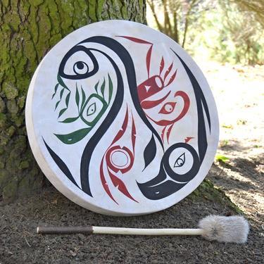 Šamanský buben malovaný 50 cm - Duch Přírody  - 2