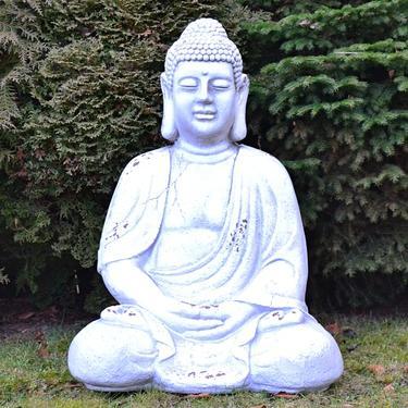 Socha Bílý Buddha v meditaci 67 cm  - 2