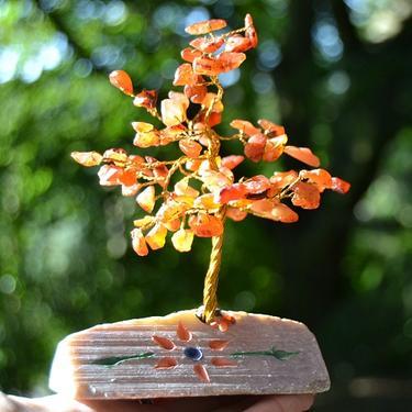 Stromeček štěstí - karneol, 80 kamínků  - 2
