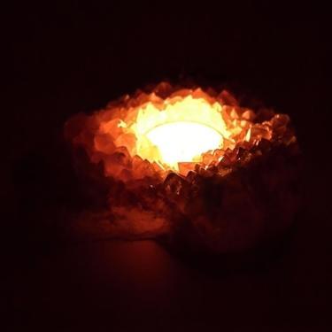 Svícen na čajovou svíčku - Ametyst drúza  - 2