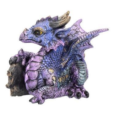 Fantasy soška - Fialový drak s drahokamem  - 3