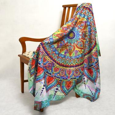 Šátek - přehoz Duhová mandala 200 x 150 cm  - 3