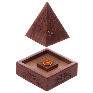 Stojánek na vonné kužely - Dřevěná pyramida  - 3
