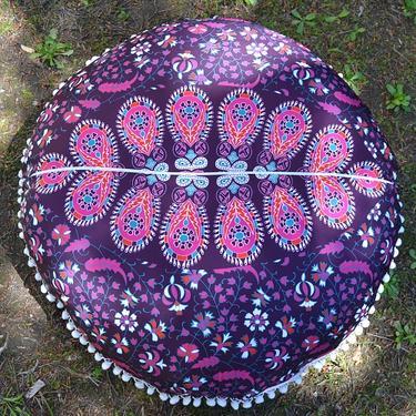 Meditační polštář kulatý Růžová Mandala 80 cm  - 3
