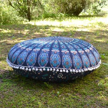 Meditační polštář kulatý Modrá Mandala 80 cm  - 3