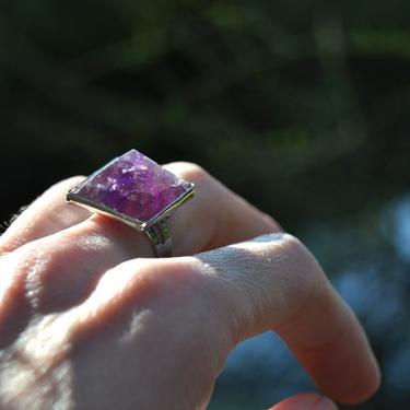 Prsten s ametystovou pyramidou rozevírací  - 3