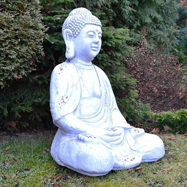 Socha Bílý Buddha v meditaci 67 cm  - 3