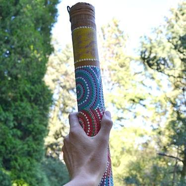 Dešťová hůl bambus ručně malovaná 50 cm  - 4