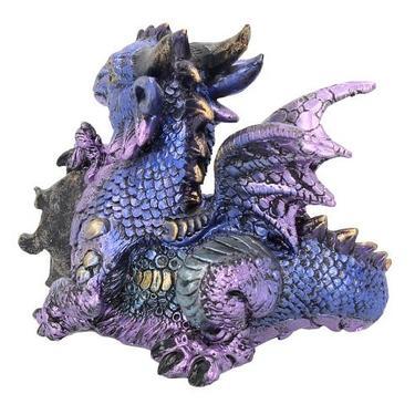 Fantasy soška - Fialový drak s drahokamem  - 4