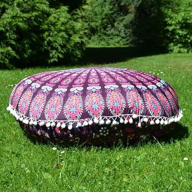 Meditační polštář kulatý Růžová Mandala 80 cm  - 4
