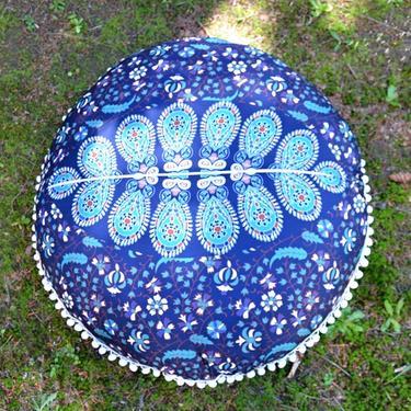 Meditační polštář kulatý Modrá Mandala 80 cm  - 4