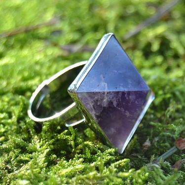 Prsten s ametystovou pyramidou rozevírací  - 4