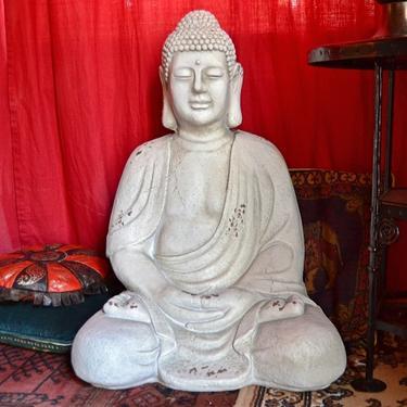 Socha Bílý Buddha v meditaci 67 cm  - 4
