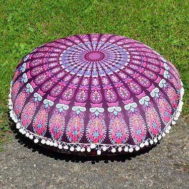 Meditační polštář kulatý Růžová Mandala 80 cm  - 5
